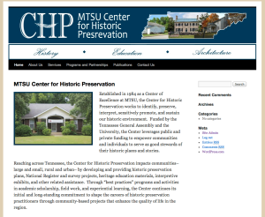 A mockup website that I created for the Center for Historic Preservation